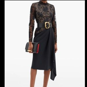 ALEXANDER MCQUEEN Draped crepe and lace dress 38